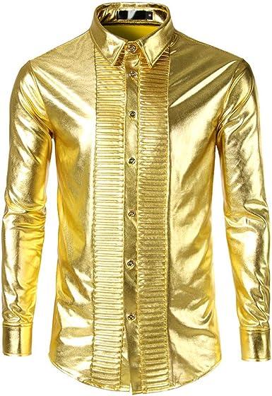 Javpoo Camicie - Camisa Casual - para Hombre Dorado XL: Amazon.es: Ropa y accesorios
