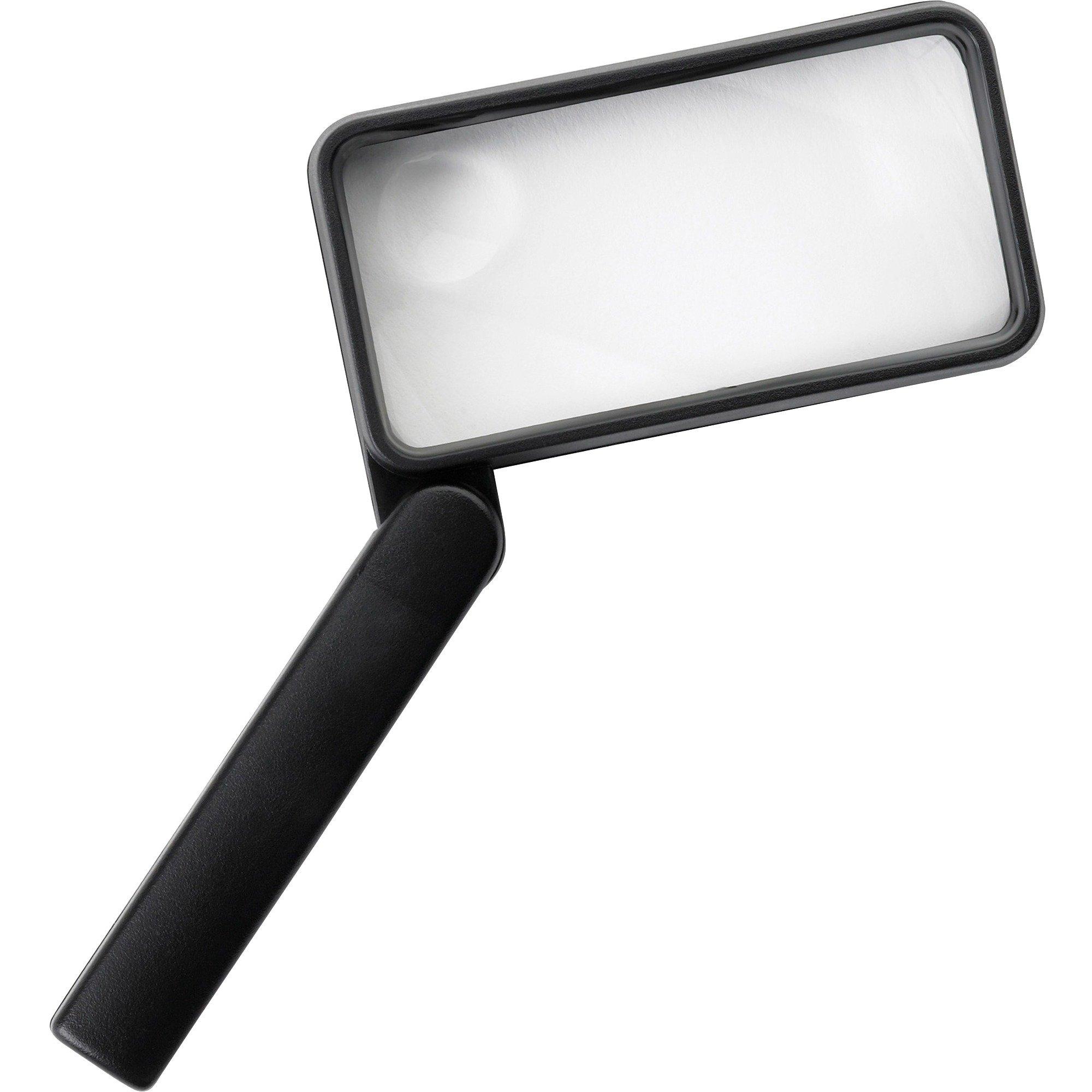 Sparco 01877 Rectangular Magnifier, 2X Main W/4X Bifocal, 2''x4'', Black
