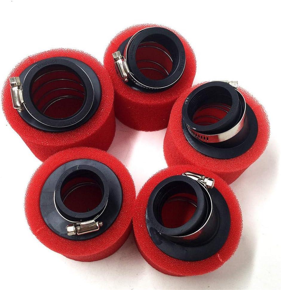 32mm 35mm 38mm 42mm 45mm 48mm Bend Coude du Cou en Mousse Filtre /à air Nettoyant /éponge Dirt Scooter Mobylette Pit Bike Moto Color : Red 32MM LIWENCUI