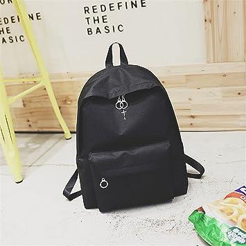 WJIANLL Bordados negros hombros bulto parejas mochilas escolares mochila portátil B femenino: Amazon.es: Deportes y aire libre