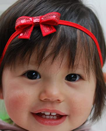 QueenMee Red Baby Headband Set Red Baby Hair Bow Red Baby Headband Bow Baby  Red Head 9081617b04c
