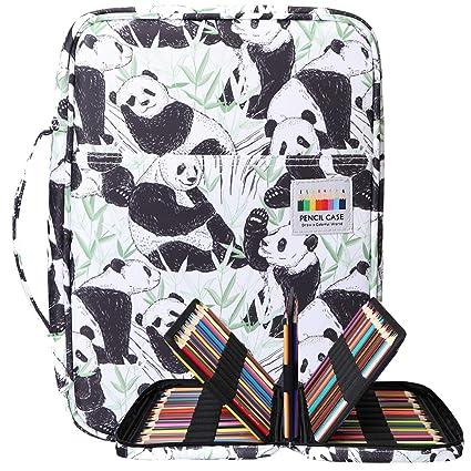 BOMKEE 220 ranuras estuche de lápices de colores, impermeable bolsa para dibujar, pintar, almacenamiento de papelería multicapa bolígrafos de gel organizador(White Panda): Amazon.es: Oficina y papelería