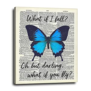 Inspirational Wall Art Canvas Wall Decor 16x20 - Unique Blue Butterfly Room Decorations - Self Confidence Picture Poster Sign for Office, Bedroom, Living Room - Cute Boho Gift for Girls, Teens, Women