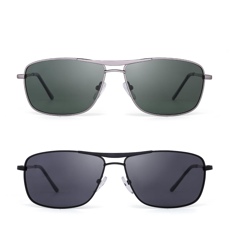 fccb2a8d22 Amazon.com  Polarized Rectangle Sunglasses Driving Lightweight Spring Hinge  Frame Men Women 2 Pack (Green   Black Grey)  Shoes