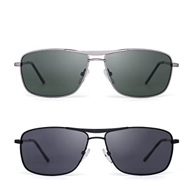 a95110910901 Polarized Rectangle Sunglasses Driving Lightweight Spring Hinge Frame Men  Women 2 Pack (Green & Black