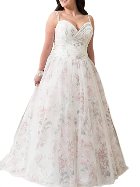 WeddingDazzle Spaghetti Straps Beaded Plus Size Wedding Gowns Tulle Floral  Wedding Dress