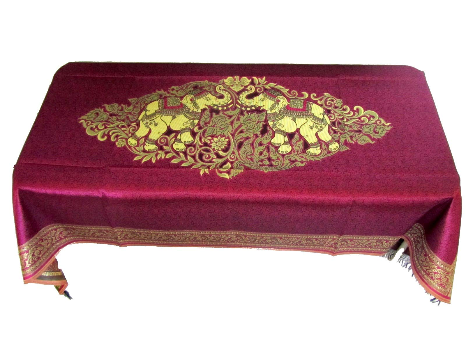 Blue Orchid Elephant Table Cloth Cover Rectangular Embroidered Gold Fabric Elegant Tablecloth Rectangle Table 40'' x 80'' Violet