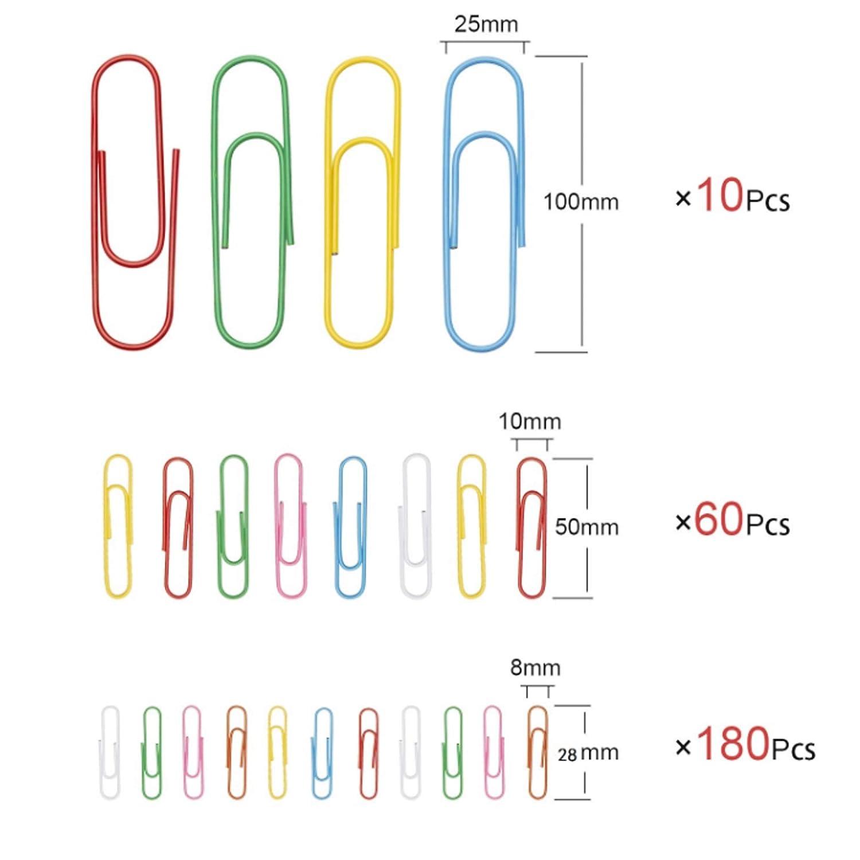 250 pezzi Clip di carta colorate Clip di carta colorate multicolori Clip di ufficio Documenti personali che organizzano graffette per casa e ufficio con scatola