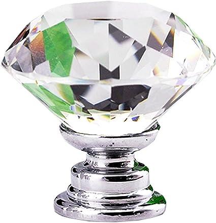 12Pcs Diamond Shape Crystal Glass Handle Pull Cabinet Knob 30mm Drawer Cupboard