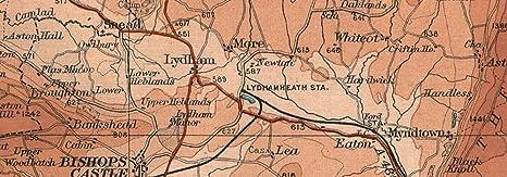 SHROPSHIRE HILLS Montgomery Shrewsbury Ludlow Clun Welshpool Wales 1939 map