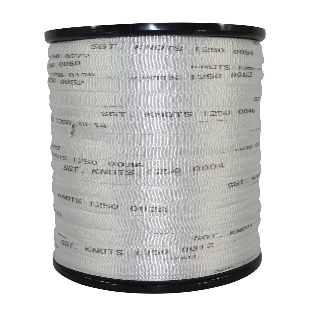 Printed Pull Tape (1/2 inch) - SGT KNOTS - Professional Grade Pre-Lubricated Polyester Mule Webbing - Lightweight Flat Rope - for Commercial Cable and Wire Installation & DIY Projects (5000 ft, White)