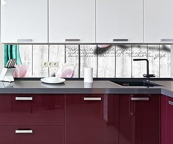 Küchenrückwand Holz Blüten türkis Nischenrückwand ...