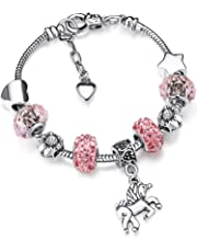 Zhanmai Unicorn Sparkly Pink Crystal Charm Bracelet Bangle with Gift Box Set for Girl Lady (16)
