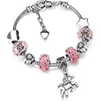 Zhanmai Unicorn Sparkly Pink Crystal Charm Bracelet Bangle with Gift Box Set for Girl Lady (16)