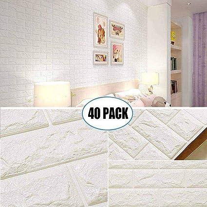 Amazon.com: 40 Pack White Brick Wallpaper Tiles, POPPAP Self ...