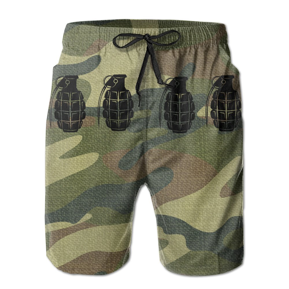 Grenade Camo Weapon Men's Workout&swim Trunks Quick Dry Board Shorts With Pockets And Drawstring