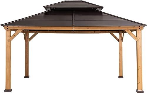 Sunjoy A102008700 Chapman 12×14 ft. Cedar Framed Gazebo with Steel 2-Tier Hip Roof Hardtop, Brown
