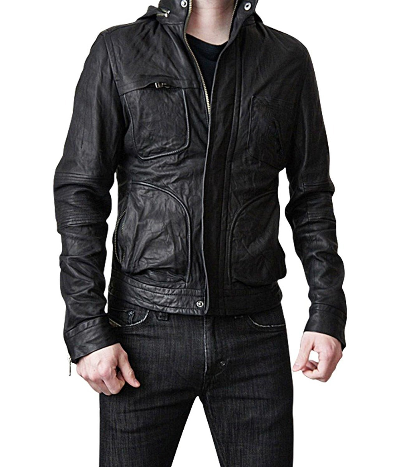 Mission Impossible Ghost Protocol Hooded Movie Jacket - Ethan Hunt MI4 Leather Jacket Christmas Gift (XS)