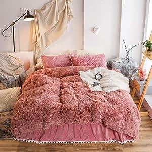 kxry Plush Shaggy Duvet Cover Sets Velvet Fluffy Bedding Set Soft Warm 1 Faux Fur Duvet Cover + 2 Pompoms Fringe Pillow Shams (Queen Size,Dusty Rose)