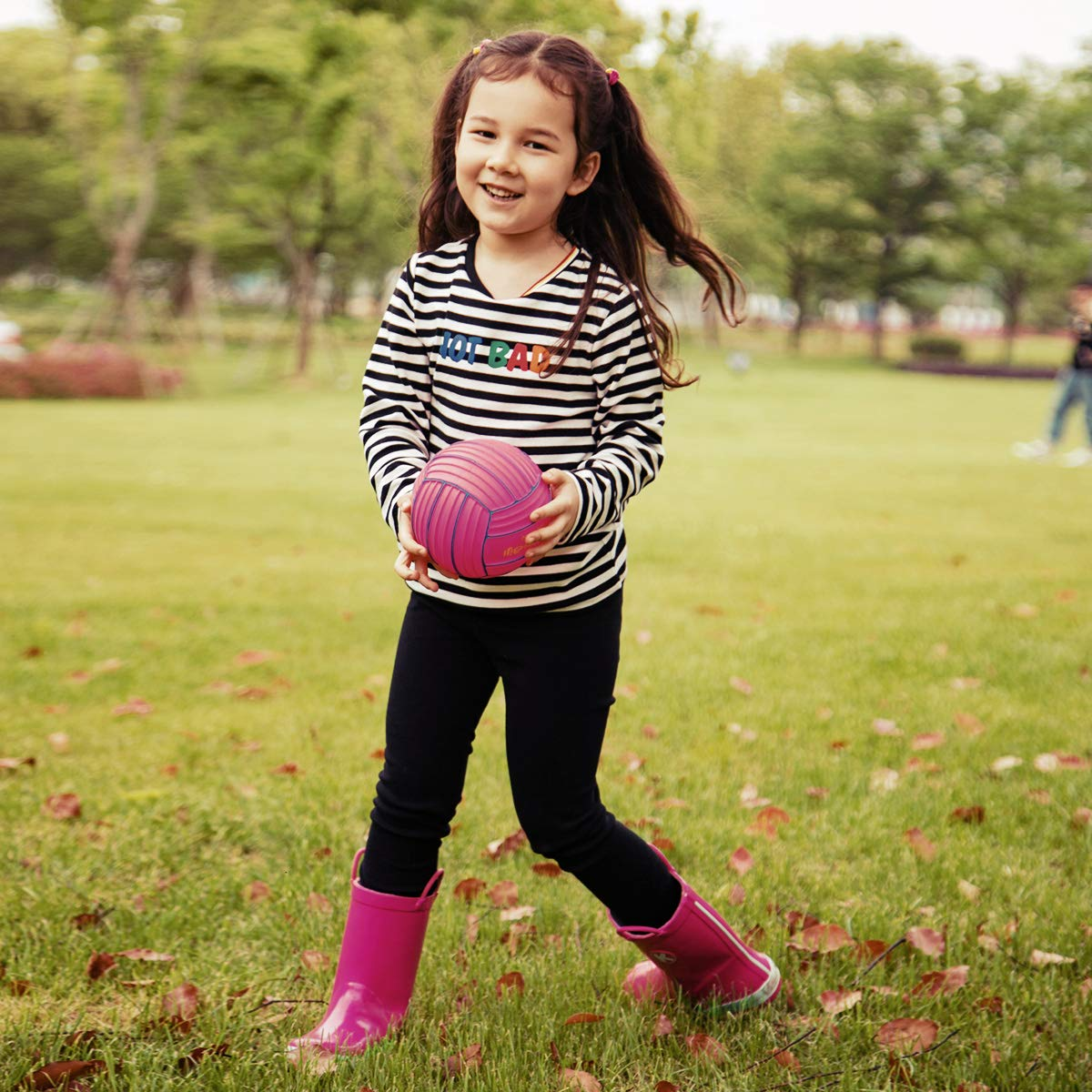 KomForme Kids Rain Boots, Plain Color Girl Rubber Boots Waterproof with Handles Pink by KomForme (Image #5)