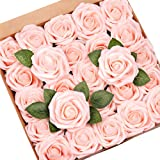 Mocoosy 50Pcs Artificial Rose Flowers, Blush Pink Roses Real Touch Foam Fake Rose Bulk with Stem for Wedding Bouquets…