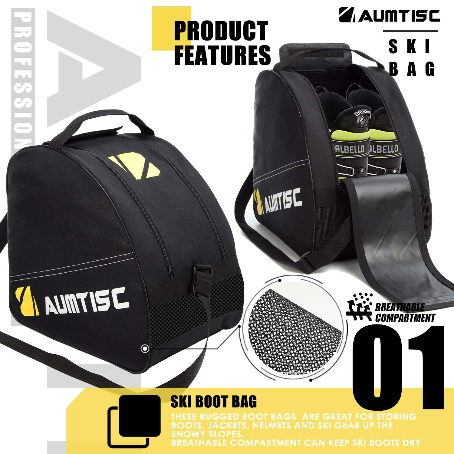 36db9afdf0 Amazon.com   Aumtisc Ski Bag and Boot Bag Combo for 1 Pair of Ski and Boots