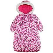 Pink Platinum Baby Girls Snowsuit Carbag Floral Camo Winter Puffer Bunting Pram, Pink, 0-3 Months