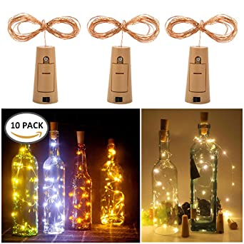 10 Stück Flaschenlicht Weinflaschen Lichter Kork Weihnachten Flasche