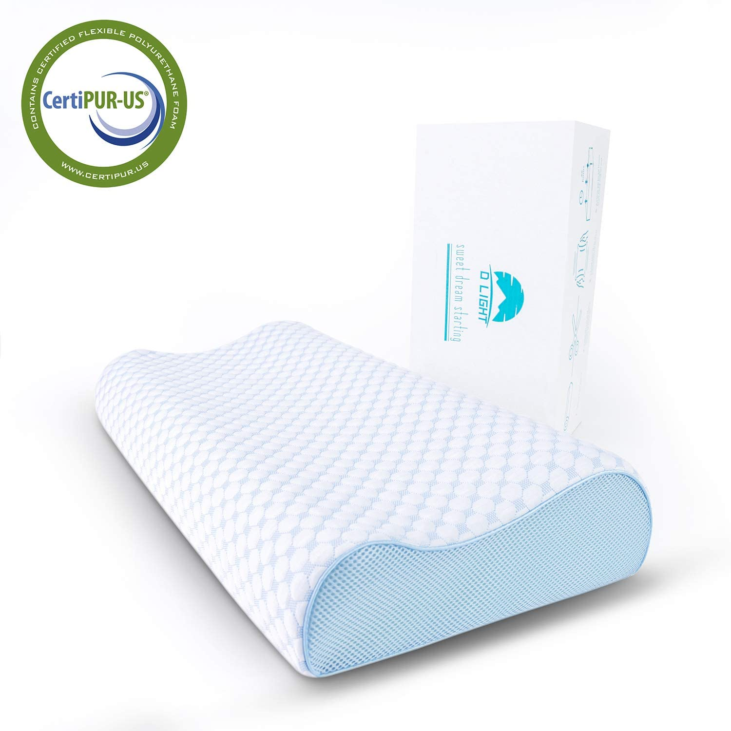 Dlight Contour Memory Foam Pillow-Ergonomic Design to Relieve Neck Pain,Sleeping Bed Pillow for All Sleeping Positions, CertiPUR-US (Soft Contour-4.7 Inch): Home & Kitchen