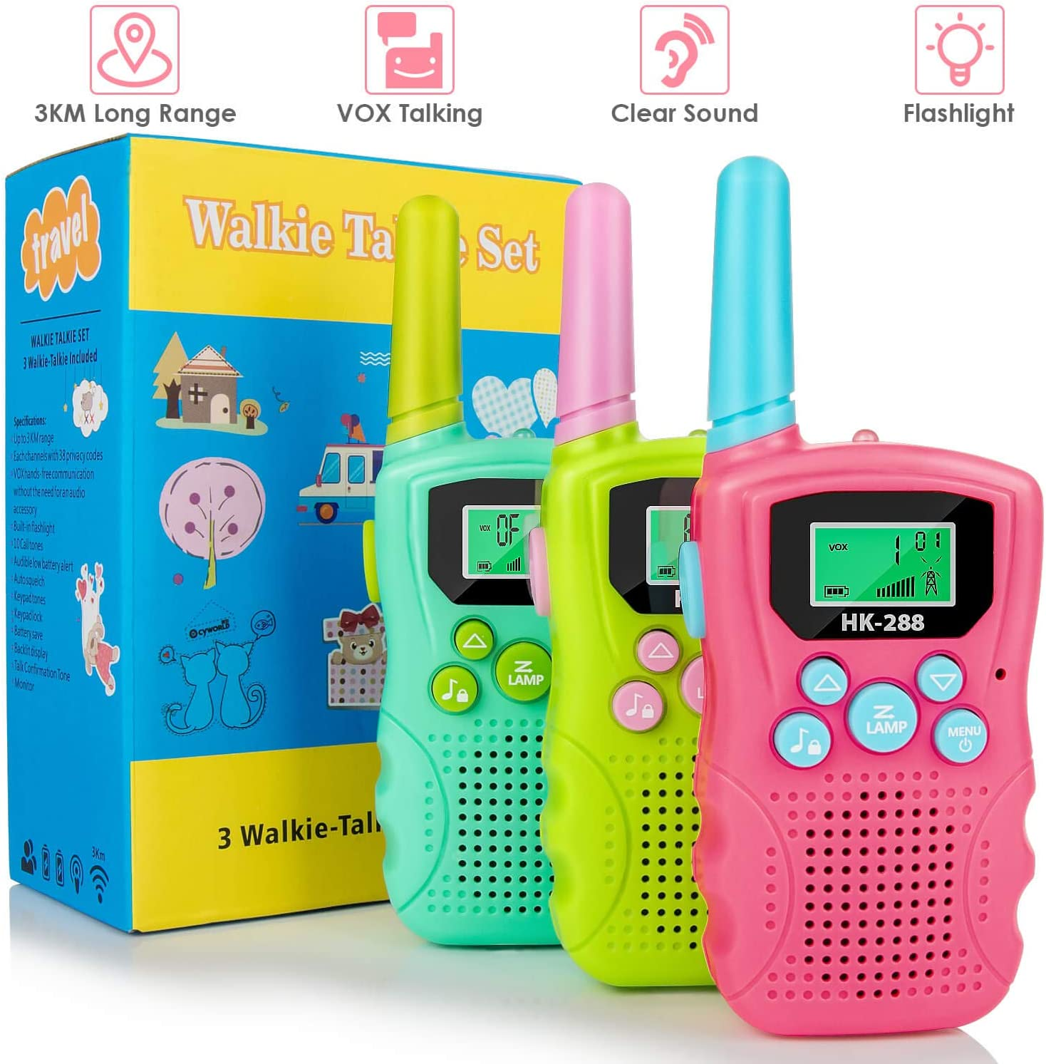 Walkie Talkies for Kids 3 Pack, 22 Channels 2 Way Radio 3km Long Range VOX Talking with Flashlight, Kids Walkie-talkies Handheld Interphone for Age 3-12 Year Old Boys Girls Outdoor Camping Hiking