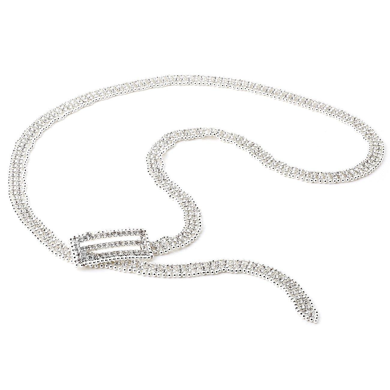 Topwholesale Silver Crystal Rhinestone Silver Beads Belt