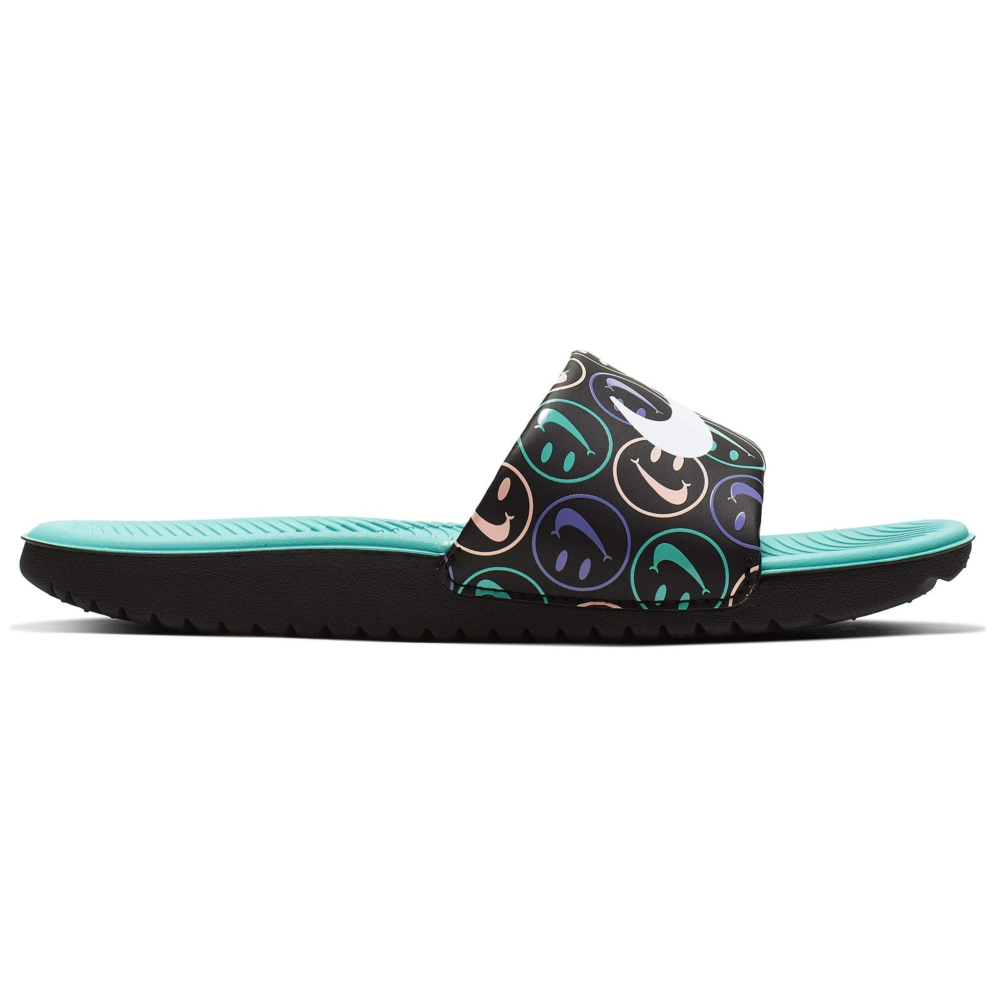 Nike Boy's Kawa Slide Printed Sandal Black/White/Space Purple/Hyper Jade Size 4 M US