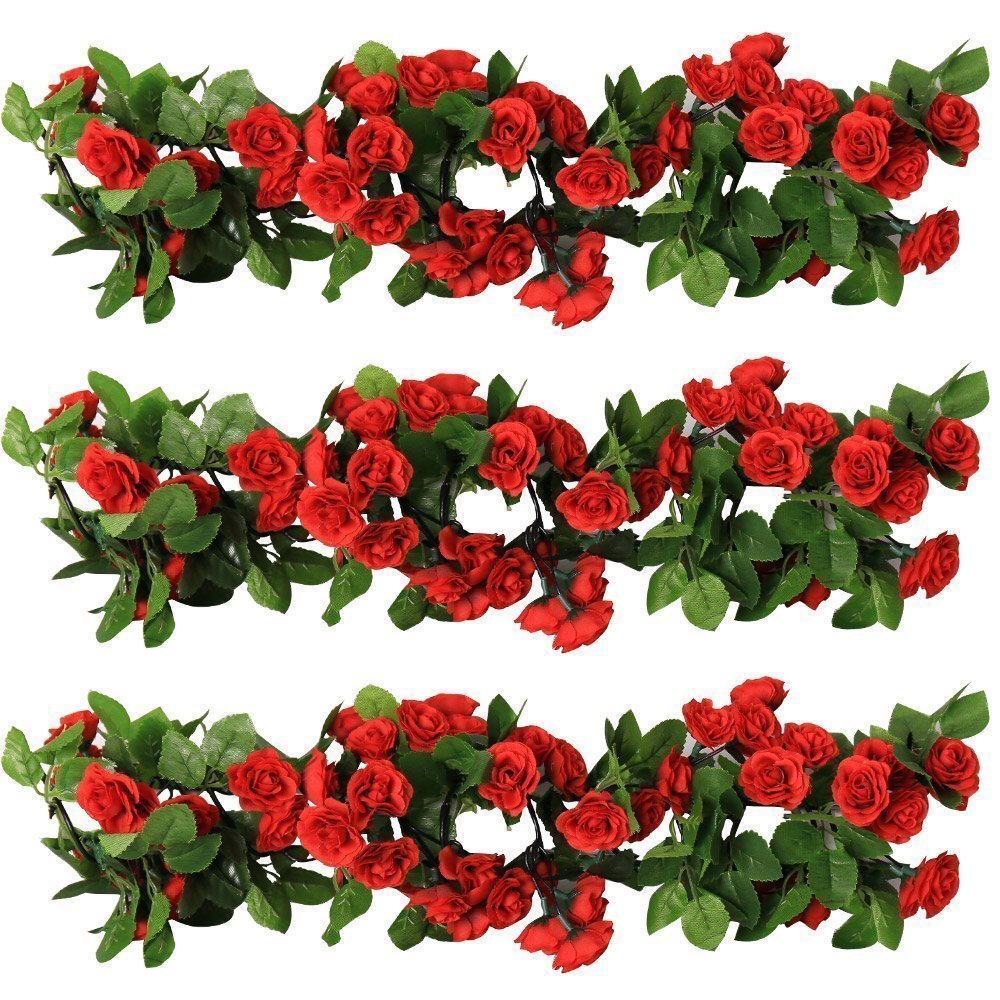 YILIYAJIA 3PCS Artificial Rose Garlands Silk Fake Rose Flowers Green Leaves Vine for Home Hotel Office Wedding Party Garden Craft Art Decor (dark red)