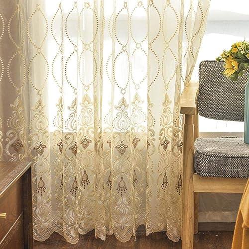 WINYY European Style Sheer Curtain Bedroom Sliding Door Living Room Decorative Gauze Curtain Voile Rod Pocket Top Window Drape 1 Panel 75 inch Wide, 96 inch Long
