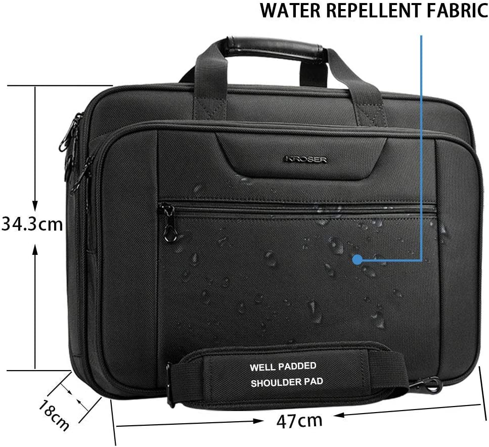 "KROSER 18.5/"" Laptop Bag XXL Briefcase Fits Up to 18 Inch Water-Repellent..."