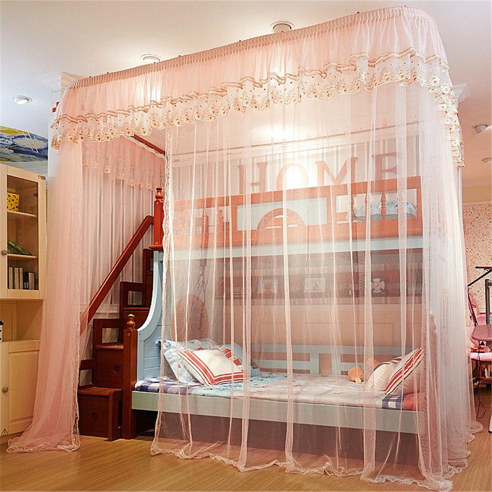 Zhangcaiyun Moskitonetz Moskitonetz rauf und runter Das Geschäft Höhe Bett Moskitonetz Höhe Geschäft 1,5 m Bett Doppelboden U-Schiene Schiene Moskito geeignet für Das Schlafzimmer Baldachin b39082