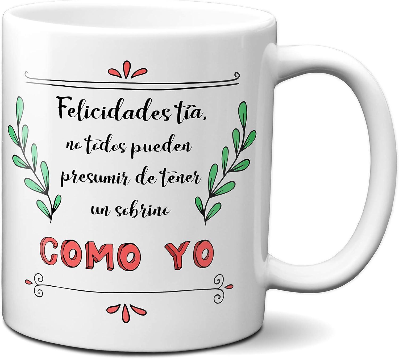 Planetacase Taza para Tia - Felicidades por Tener un Sobrino como yo - Regalo Original Familia Ceramica 330 mL