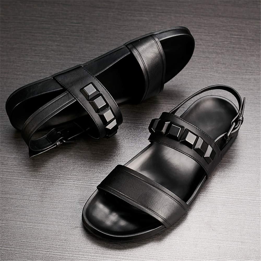 Summer Men Rome Genuine Leather Sandals Fashion Retro Male Hollow Out Black Rivet Breathable Beach Sandals