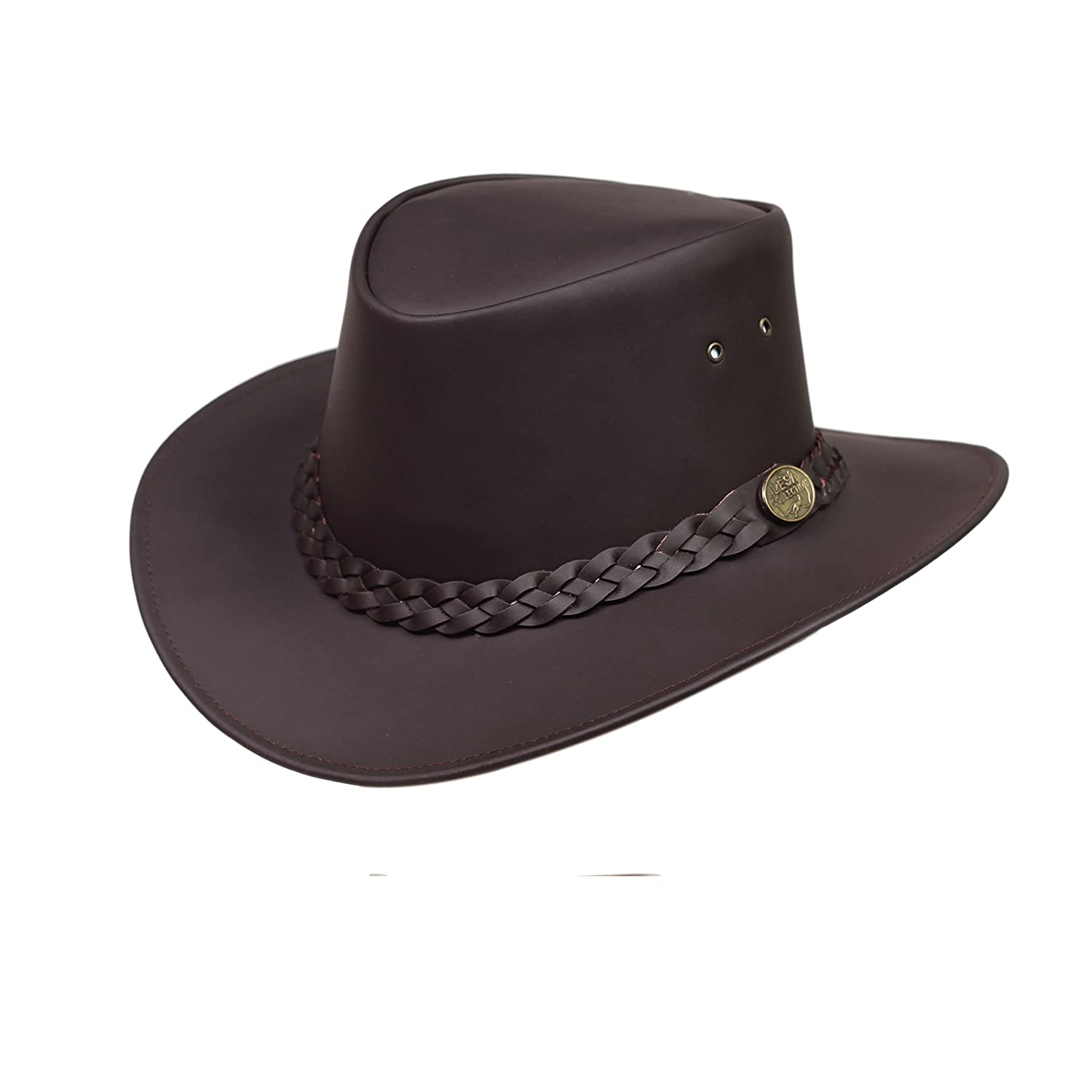 Lesa Collection Australian Style Leather Outback Bush Hat Mens Womens Brown/Black