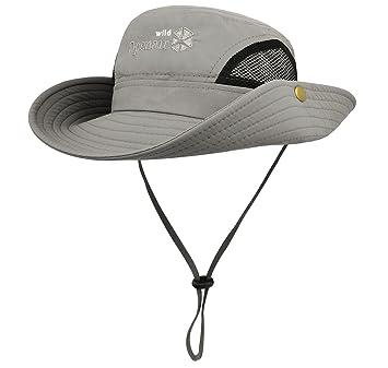 b6cb7663bee Lamdgbway Quick-Dry Safari Sun Hat Unisex Summer UV Protection Bucket Mesh  Cap Boonie Hat
