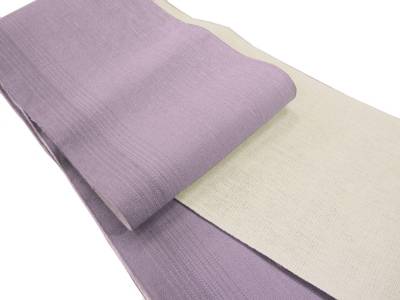 半巾帯 本麻長尺 浴衣帯 両面ぼかし 麻帯 赤/紺/薄紫/薄黄/水色 B00YU375QK 薄紫地 薄紫地