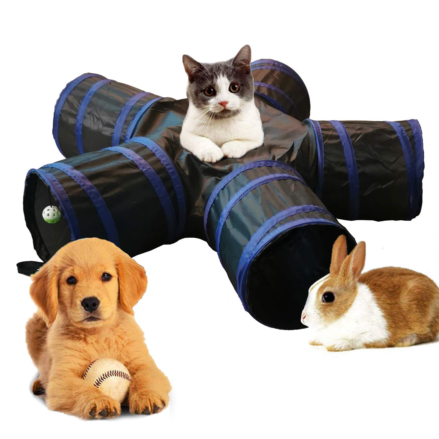 Aolan Cat Tunnel 5 Way Tunnels Extensible Collapsible Cat Play Tunnel Toy Maze Cat House with Pompon and Bells for Cat Puppy Kitten Rabbit by Aolan
