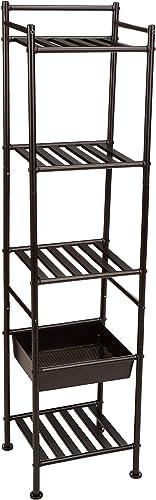 AmazonBasics 5-Tier Bathroom Shelving Unit with Basket