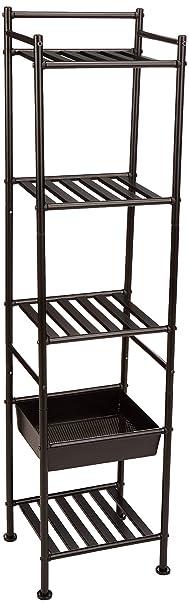 Amazon Basics 5 Tier Bathroom Shelving Unit With Basket by Amazon Basics