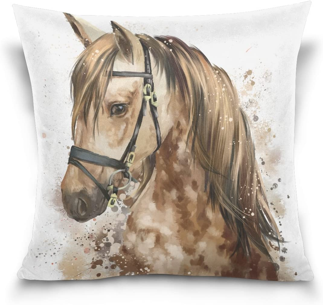"Top Carpenter Horse Head Velvet Plush Throw Pillow Cushion Case Cover - 18"" x 18"" - Invisible Zipper Home Decor Floral for Couch Sofa No Pillow Insert"
