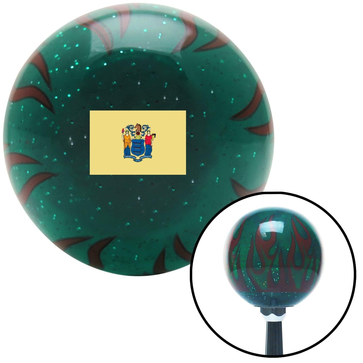 New Jersey Green Flame Metal Flake with M16 x 1.5 Insert American Shifter 311008 Shift Knob