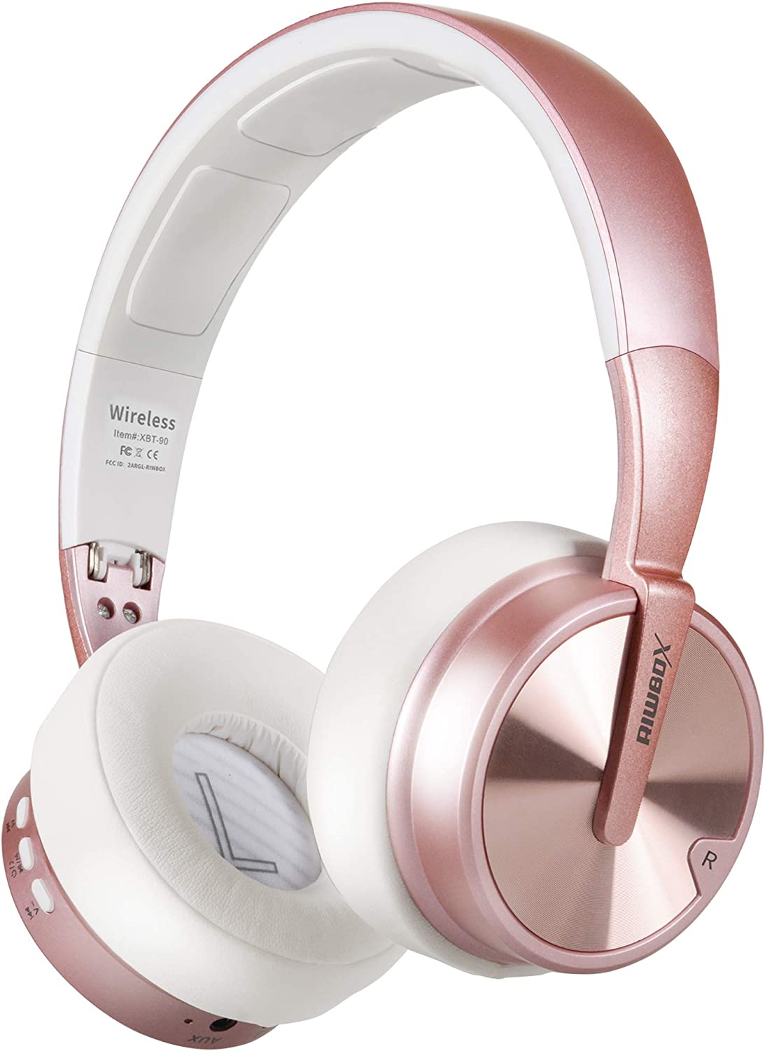 Bluetooth Headphones, Riwbox XBT-90 Foldable Wireless Bluetooth Headphones Over Ear Hi-Fi Stereo Wireless Headset with Mic/TF Card and Volume Control Compatible for PC/Cell Phones/TV/ipad (Rose&Gold)