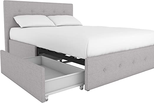 Amazon Com Dhp Rose Upholstered Platform Bed With Under Bed Storage And Wooden Slats Button Tufted Headboard In Linen Full Size Grey Furniture Decor