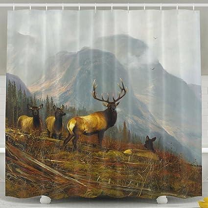 Cool Cliffs Elk Painting Shower Curtain Waterproof Decorative Bathroom Curtains