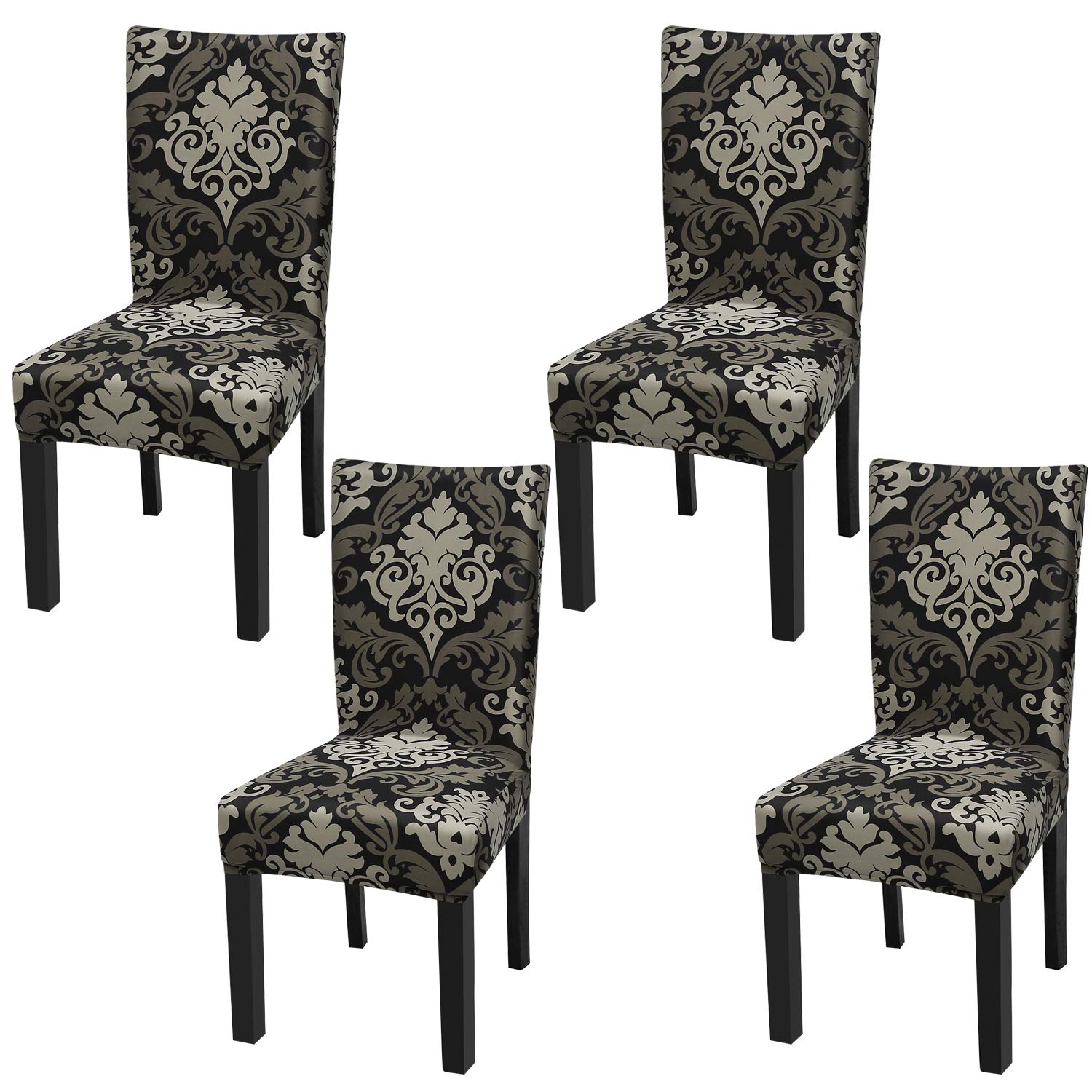 Fuloon Super Fit Stretch Jacquard Removable Washable Short Dining Chair Covers Seat Slipcover for Hotel,Dining Room,Ceremony,Banquet Wedding Party (4, Black with Gold)